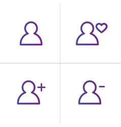 purple linear outline person icon set user icon vector image