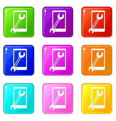 Repaired phone icons 9 set vector
