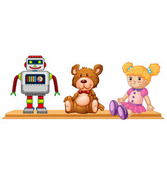 Robot and dolls on wooden shelf vector