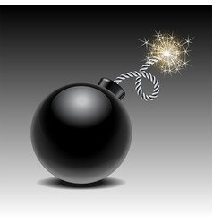 Round black bomb ready to explode with lit fuse vector