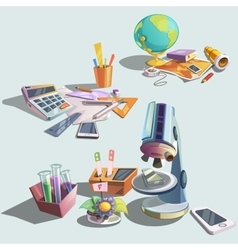 Science retro cartoon set vector image