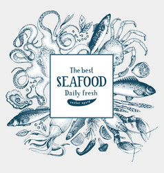 Seafood frame can be use for vector