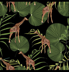seamless pattern with palm leaves and giraffe vector image