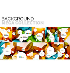 set of abstract backgrounds geometric color wavy vector image