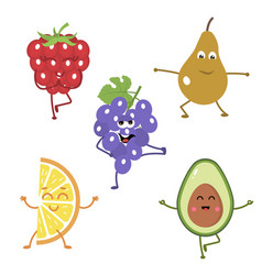 set of funny characters from fruits engaged in vector image