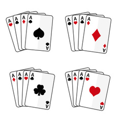 Sets playing cards with four aces eps10 vector