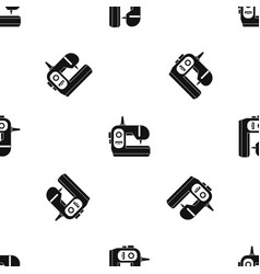 sewing machine pattern seamless black vector image