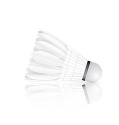 Shuttlecock with reflection isolated on white vector