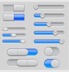Slider bars set of gray blue volume level console vector