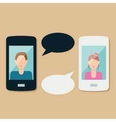 Smartphone and communication bubble vector
