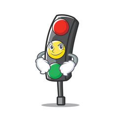 Smirking traffic light character cartoon vector