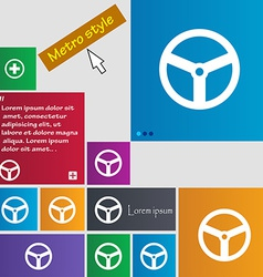 Steering wheel icon sign Metro style buttons vector