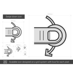 Swipe down line icon vector