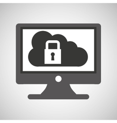 technology monitor pc cloud security vector image