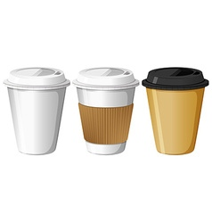 Three designs of paper cups vector image