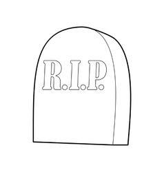 Tombstone with RIP icon outline style vector
