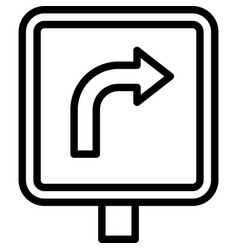 Turn right sign icon parking lot related vector
