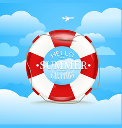 Vacation travelling concept Flat with Hello summer vector image