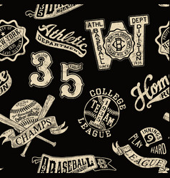 Vintage baseball badges and prints wallpaper vector