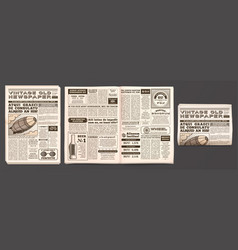 vintage newspaper mockup retro newsprint pages vector image