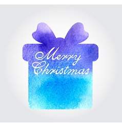 Watercolor Christmas background with blue gift vector