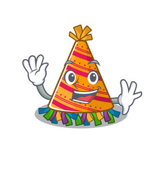 Waving party hat with in cartoon vector