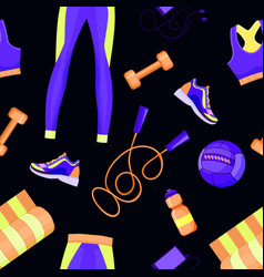 women fitness equipment seamless pattern vector image