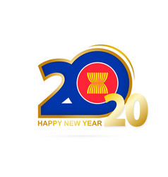 Year 2020 with asean flag pattern happy new year vector