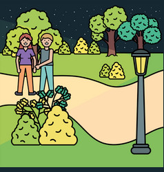 young lovers couple in park vector image