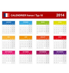 Calendar 2014 French Type 10 vector image