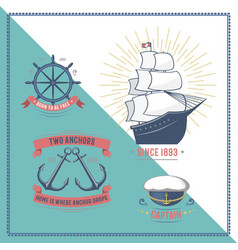 fashion nautical and marine sailing themed label vector image vector image