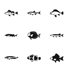 Marine fish icons set simple style vector image vector image