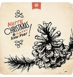 Retro Vintage Hand Drawn Christmas Greeting Card vector image