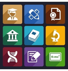 School and education flat icons set 25 vector image