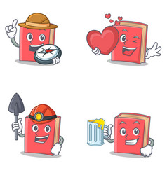 Set of red book character with explorer heart vector