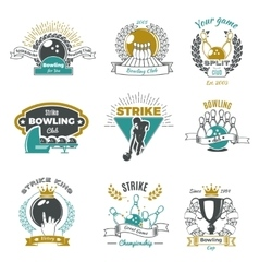 Bowling Clubs Vintage Style Logos vector image