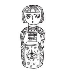 Coloring for adults ethnic statue sculpturedoll vector