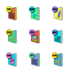 download file icons set cartoon style vector image