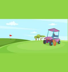 field of golf horizontal banner cartoon style vector image