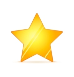 Glossy golden rating star with shadow on white vector image vector image