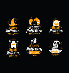 Happy halloween greeting card holiday symbol or vector
