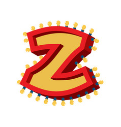 letter z lamp glowing font vintage light bulb vector image vector image