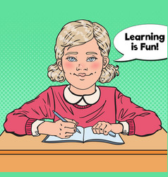 pop art smiling schoolgirl sitting at school desk vector image vector image