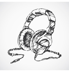 Sketched headphones vector image
