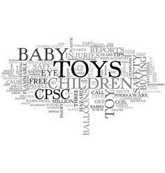 Baby toy safety text word cloud concept vector