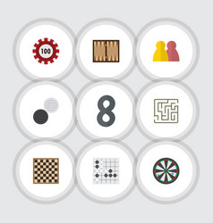 flat icon entertainment set of gomoku chequer vector image vector image