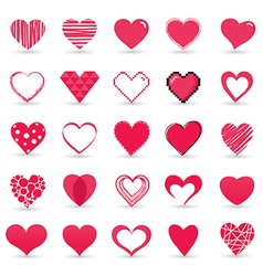Heart valentine icon set vector image