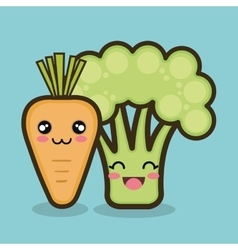 vegetables cartoon carrot and broccoli graphic vector image vector image