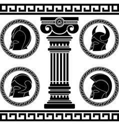 ancient helmets stencil vector image