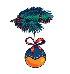 Branch of a Christmas tree decoration ball vector image